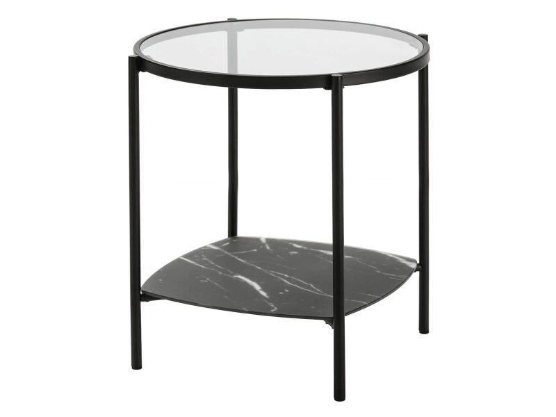 Kilian - table salon ronde 49cm verre et effet marbre noir