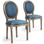 Lot de 20 chaises de style médaillon louis xvi tissu bleu