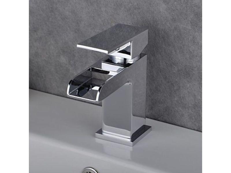 Robinet d/évier contemporain simple Fini Chrome mitigeur de salle de bains