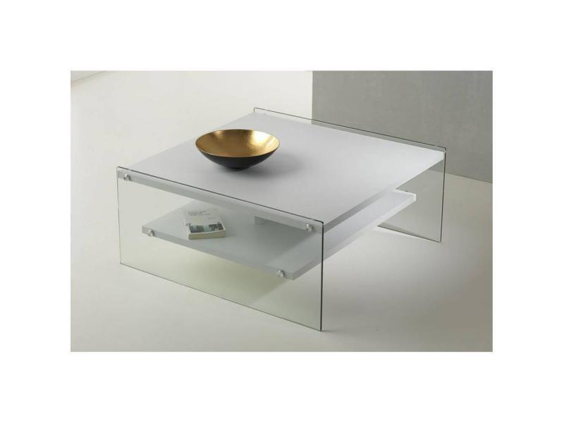 Table basse bella 2 plateaux blanc mat piétement en verre 20100847199