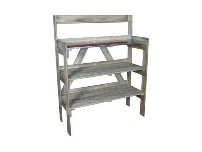 Jardipolys - table de préparation evolution en bois avec 2 étagères