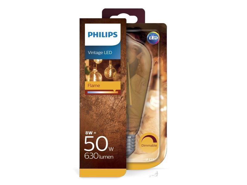 Ampoule philips led standard edison vintage filament e27 8w equivalent 50w claire ambrée blanc chaud compatible variateur