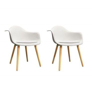 Lot De 2 Chaises Blanches Avec Accoudoir Style Scandinave