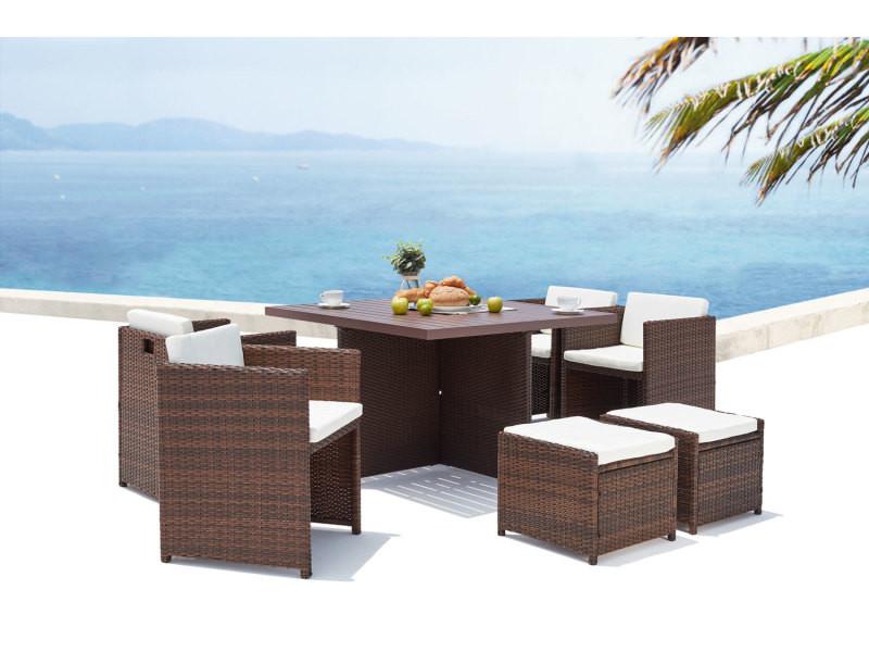 Sunset 8 : salon de jardin encastrable 8 places en résine tressée et aluminium marron/blanc