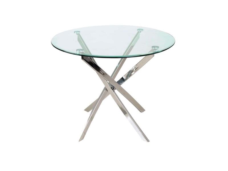 Table ronde design - agis - d 90 x h 73 cm - verre et métal chromé