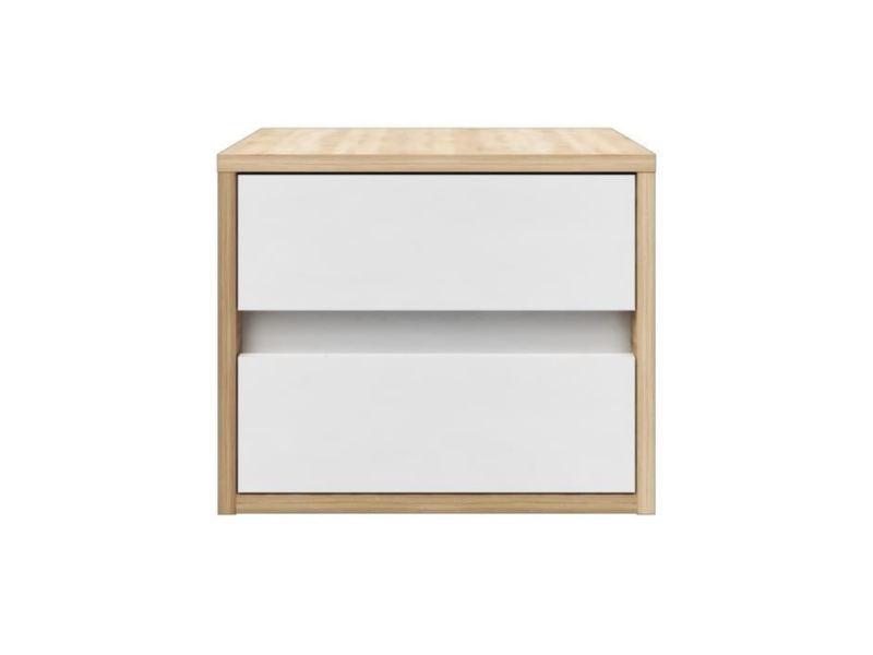 Chevet pop chevet contemporain mélaminé blanc mat et décor ...