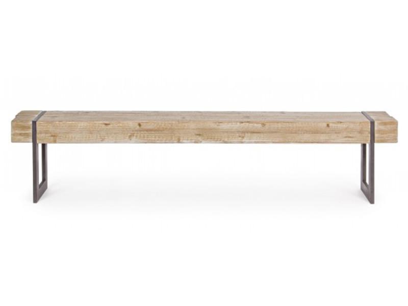 Banc en bois de sapin et fer - dim : l 200 x p 30 x h 45 cm -pegane