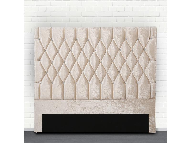 Tête de lit capitonné avec strass focus - beige tête de lit - 140 cm