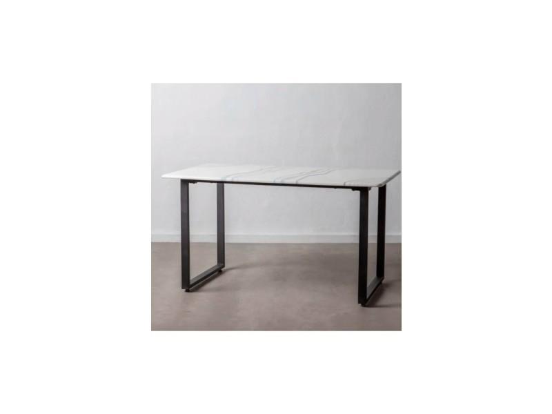 Table à manger aspect marbre et métal brut noir 140cm indus