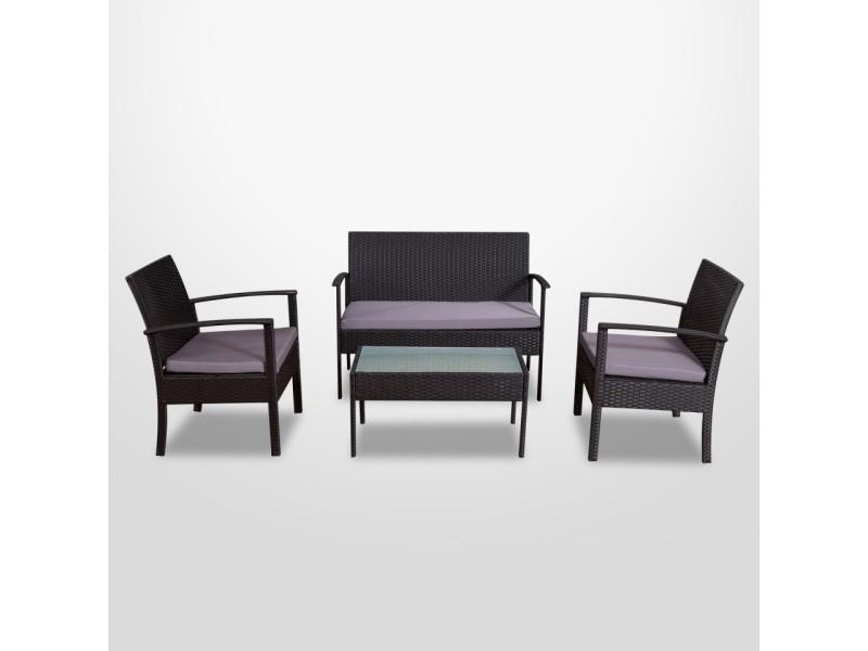 Alba - salon de jardin résine tressée noir/gris - ensemble 4 ...
