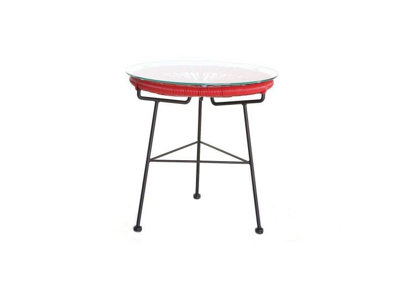 Table d\'appoint de jardin en fils de résine rouge bellavista - Vente ...