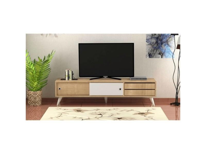 Meuble tv scandinave eduardo - 160 x 40 cm - marron et blanc