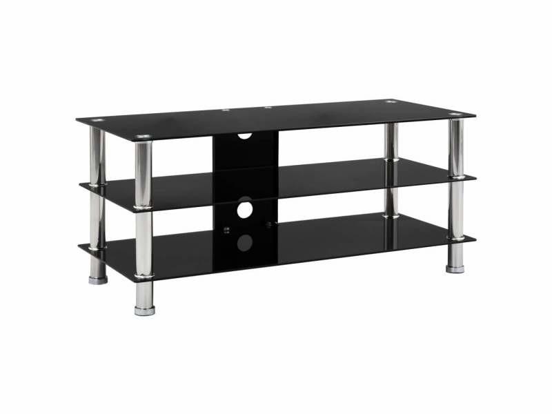 Meuble télé buffet tv télévision design pratique noir 90 cm verre trempé helloshop26 2502209