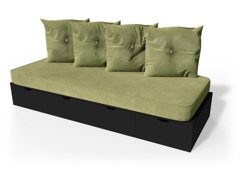 Banquette cube 200 cm + futon + coussins noir BANQ200S-N