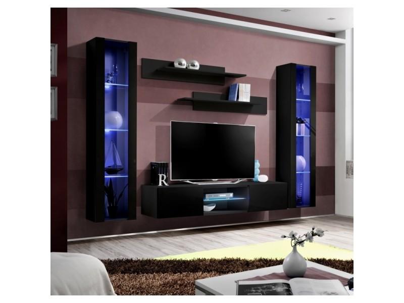 Ensemble meuble tv mural - fly o2 - 260 x 40 x 190 cm - noir