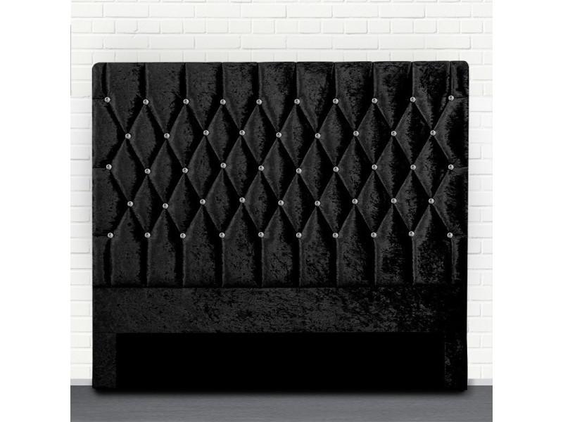 Tête de lit capitonné avec strass focus - noir tête de lit - 140 cm