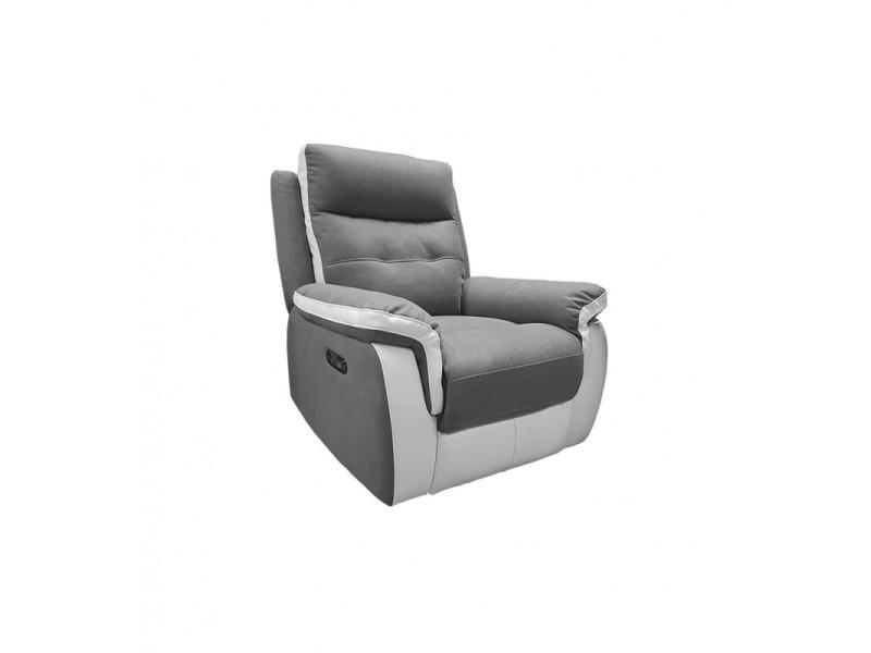 Fauteuil relax électrique gris blanc tissu microfibre - lerman