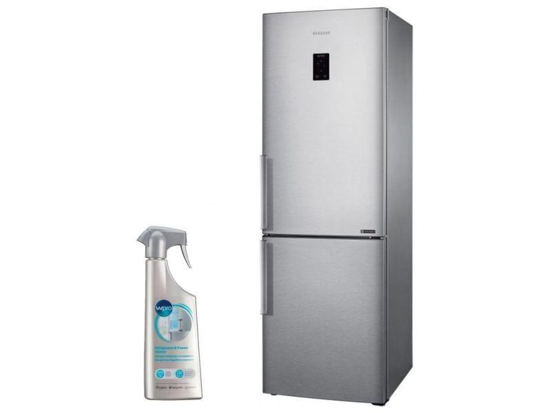 Réfrigérateur frigo combiné 328l inox froid ventilé no frost
