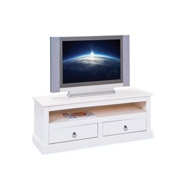 meuble tv blanc 118 x 39 x 45 cm conforama. Black Bedroom Furniture Sets. Home Design Ideas