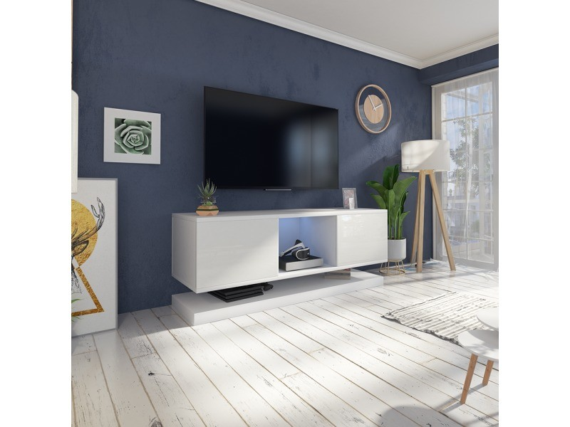 Meuble Tv Wizz Avec Led 140 Cm Blanc Mat Blanc Brillant