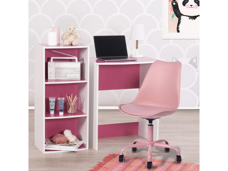 Ensemble bureau avec meuble de rangementet chaise rose