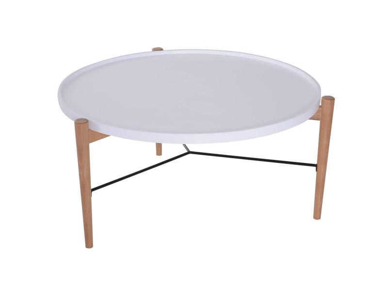 Table basse ronde design scandinave ø 90 x 45h cm métal mdf bois massif et blanc