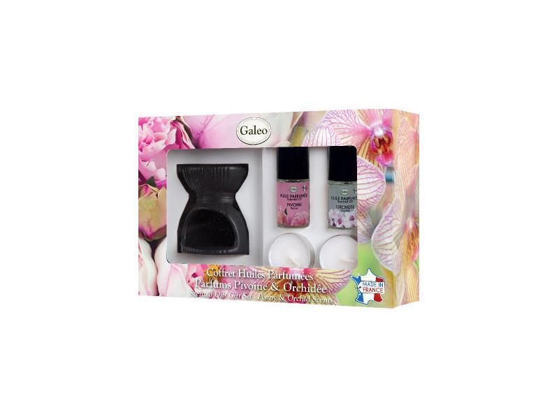 Coffret brule-parfum et huiles parfumées - pivoine & orchidée