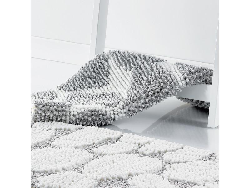 tapis de bain shaggy galets gris blanc 50 x 80 cm les ateliers du linge 3582070601 vente de. Black Bedroom Furniture Sets. Home Design Ideas