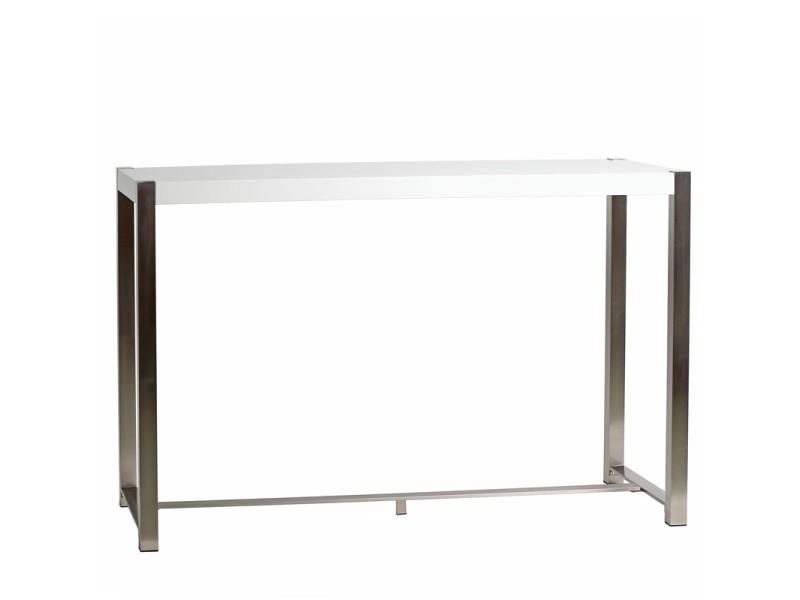 Table haute blanche laquée et pieds acier - bonzaï - l 160 x l 60 x h 100 - neuf