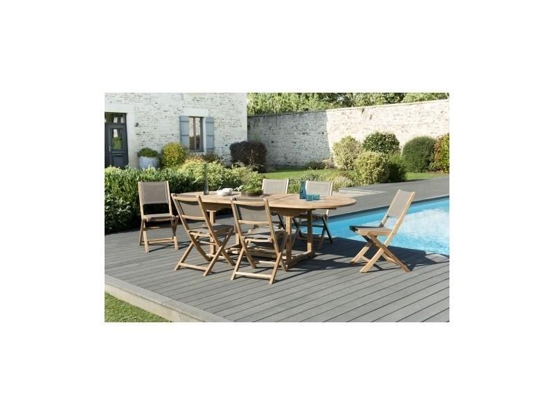 Salon de jardin en teck et textilène avec 1 table ovale ...