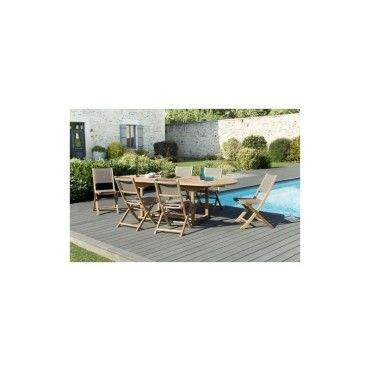 Salon de jardin en teck et textilène avec 1 table ovale extensible ...