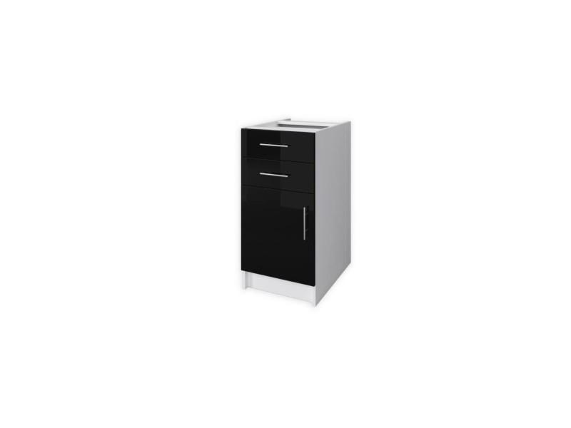 Obi caisson bas de cuisine avec 1 porte, 2 tiroirs l 40 cm - blanc et noir laqué brillant