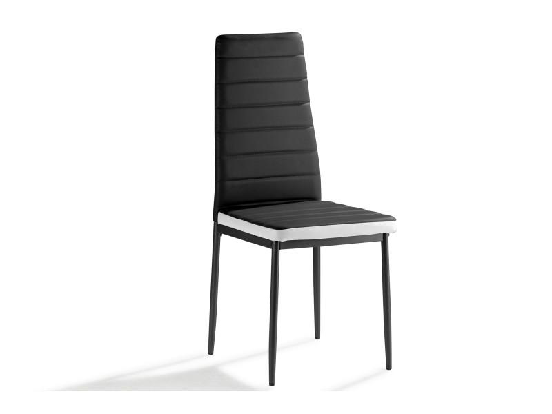 Mila lot de 4 chaises bicolore en simili cuir noir/blanc