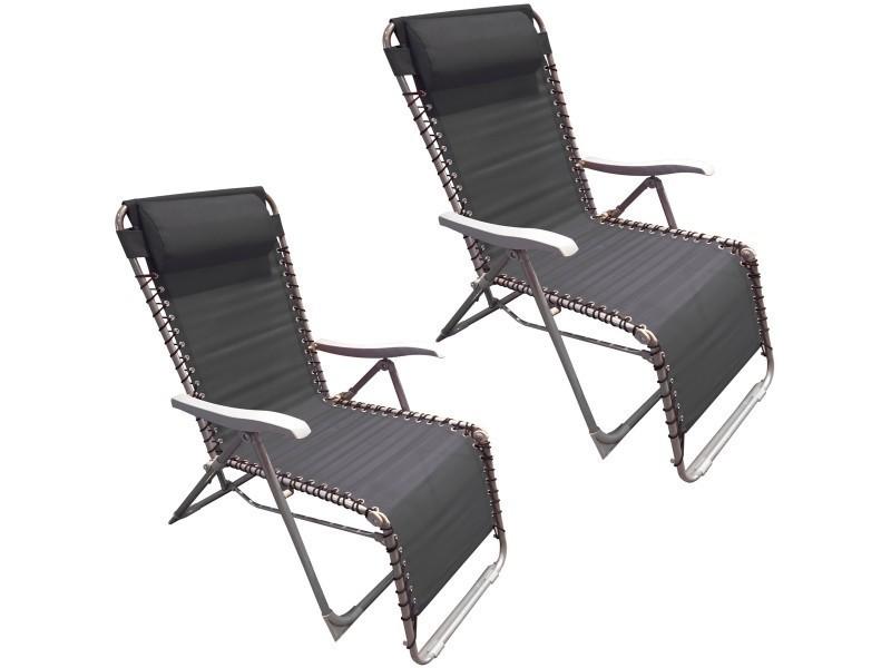 Set duo ensemble deux chaises longues fauteuil de jardin texilène noir