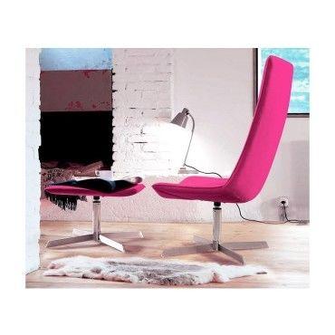fauteuil lounge design rose avec repose pied vente de ego design conforama. Black Bedroom Furniture Sets. Home Design Ideas
