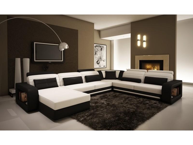 Canapé d'angle cuir new york blanc et noir (angle gauche)-