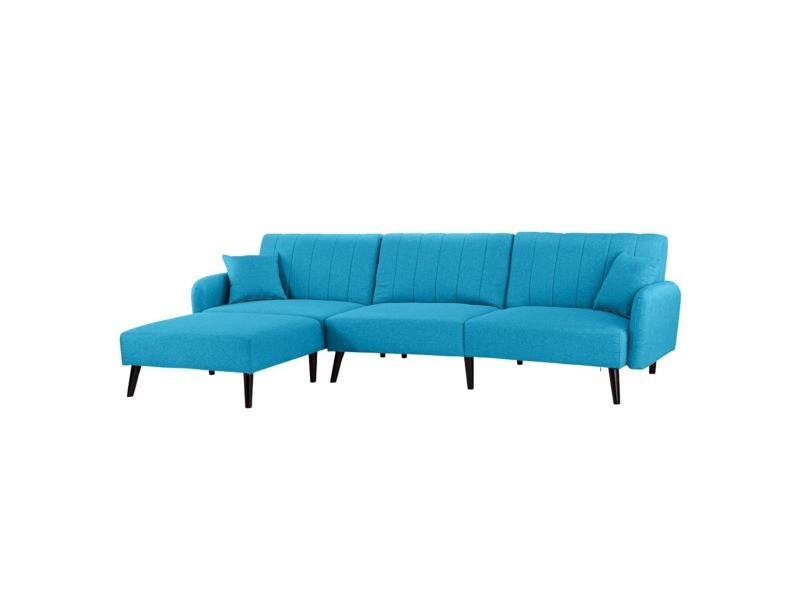 Julia - canapé d\'angle 4 places convertible - tissu - coloris bleu ...