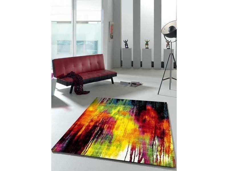 Tapis contemporain pour la chambre jolia 1 noir, creme, rouge, jaune, orange, vert 60 x 110 cm