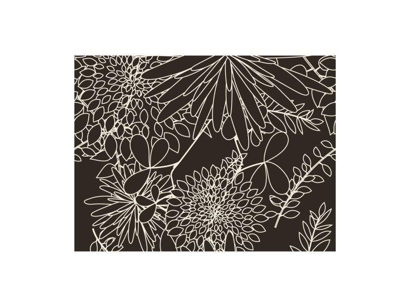 Papier peint - motif floral noir et blanc 200x154