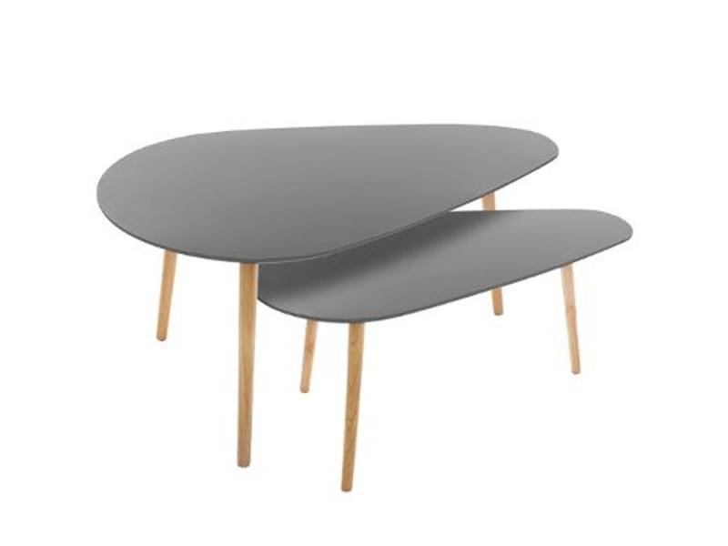 Paris prix - lot de 2 tables à café en bois \