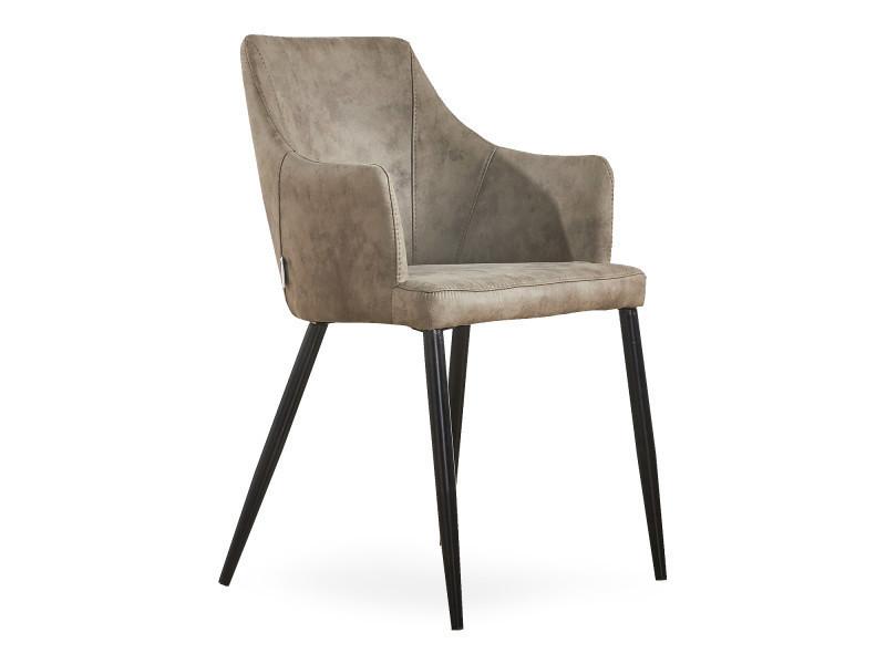 Chaise zarah en simili cuir couleur taupe - rembourrée