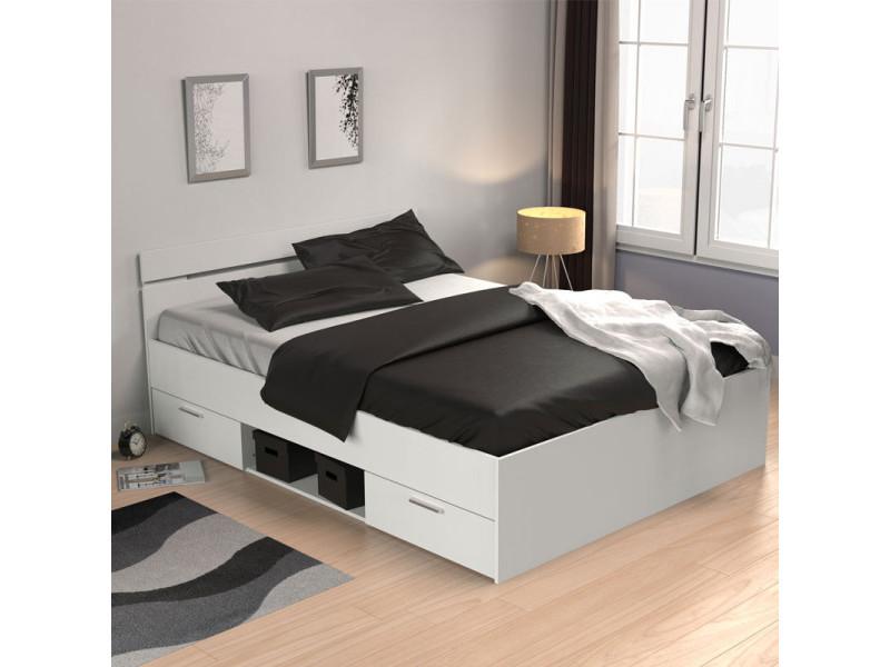 Lit 140x200 blanc mat - mukana - l 144 x l 204 x h 74 cm