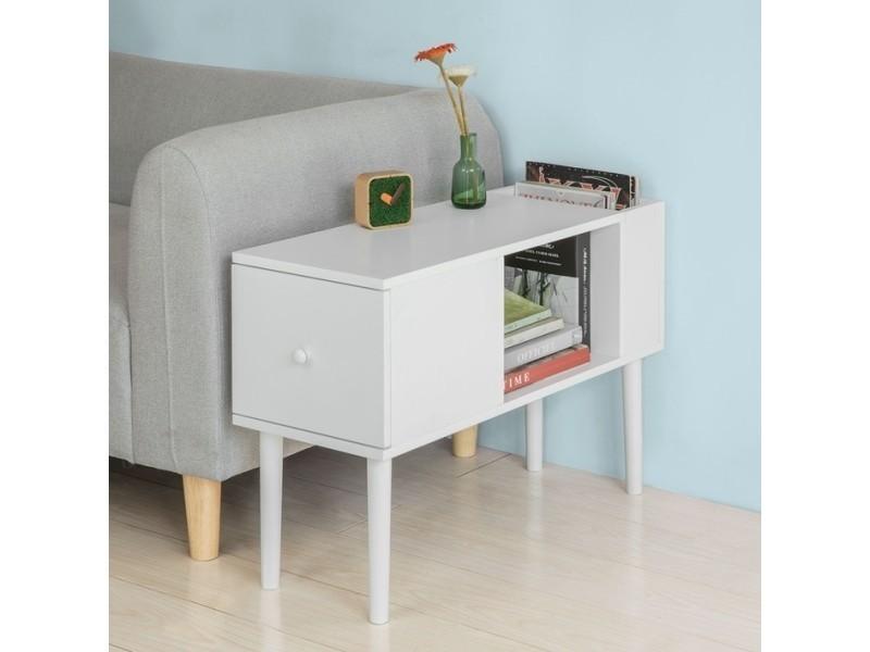 Bout de canapé table café table d'appoint porte magasine porte revues avec 1 tiroir– blanc fbt60-w sobuy®