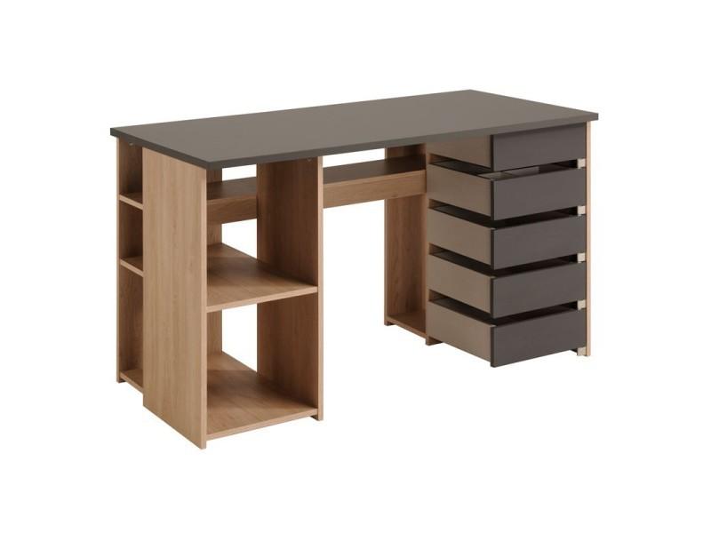 bureau 5 tiroirs ch ne clair gris clever l 128 x l 61 x h 77 neuf vente de bureau. Black Bedroom Furniture Sets. Home Design Ideas