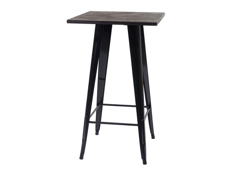 Table haute style industriel hombuy en bois marron et métal noir