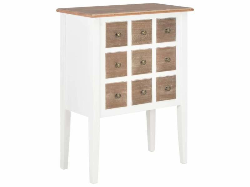 Buffet bahut armoire console meuble de rangement blanc 80 cm bois massif helloshop26 4402224