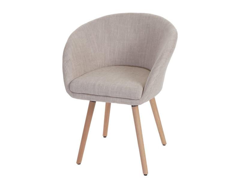 Chaise de salle à manger malmö t633, fauteuil, design rétro des années 50 ~ tissu, crème/gris
