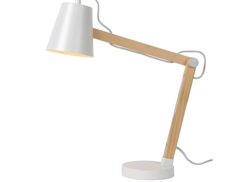 Lampe de bureau design articulée tony blanche en métal et bois