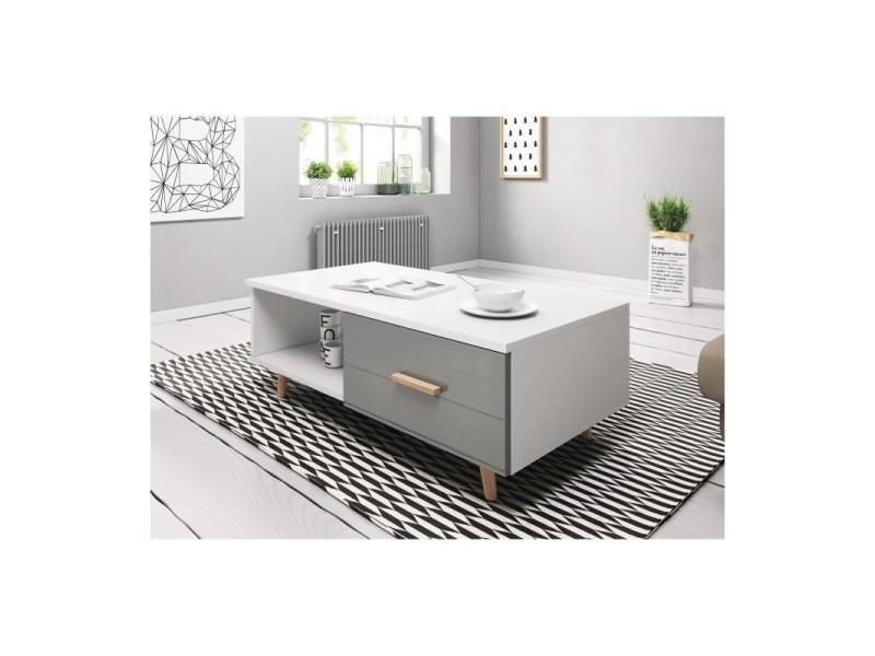 Table basse eden 110 cm avec 1 tiroir et 1 niche, coloris blanc et gris brillant.