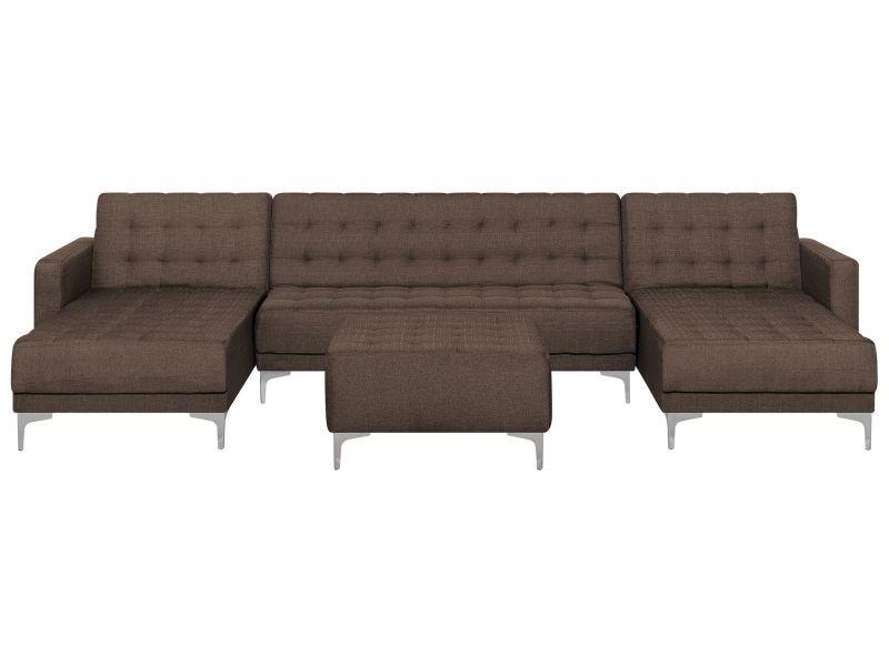 Canapé panoramique convertible en tissu marron foncé 5 places avec pouf aberdeen 145100